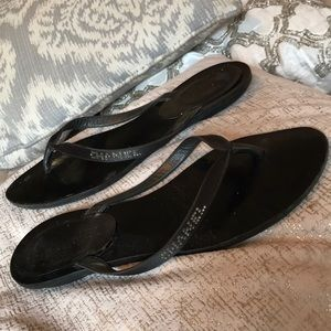 Chanel Crystal Thongs Sandals Black Satin 38